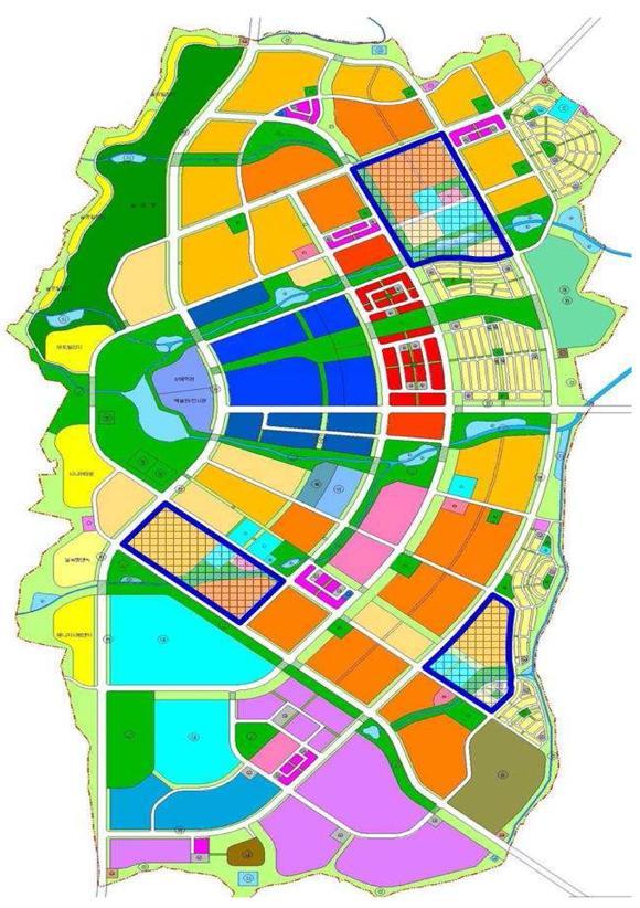 내포신도시에는 3곳의 생활도로구역이 지정될 예정이다. 파란색 부분.