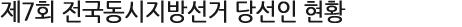 제7회 전국동시지방선거 당선인 현황